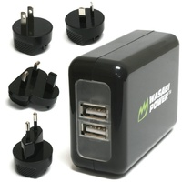 Wasabi Power Dual USB Wall Charger with Worldwide Plugs: Suitable for GoPro HERO