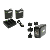 Wasabi BUNDLE for GoPro HERO6 / HERO5 Black-2xBatts/Triple Cradle/WALL Charger