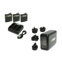 Wasabi BUNDLE for GoPro HERO6 / HERO5 Black-3xBatts/Triple Cradle/WALL Charger