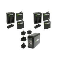 Wasabi BUNDLE for GoPro HERO6 / HERO5 Black-4xBatts/2xDual Cradles/WALL Charger