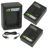 Wasabi Power Batteries  for GoPro HERO3/HERO3+ (2 Pack & Dual USB Charger)