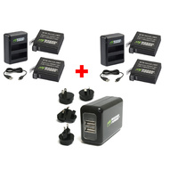 GoPro HERO4 BUNDLE | 4 x batteries + 2 x 2 slot USB chargers + USB Wall charger