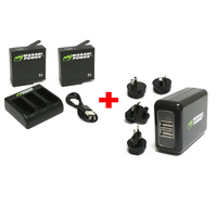 Wasabi BUNDLE for GoPro HERO7/HERO6/HERO5-2xBatts/Dual Cradle/WALL Charger